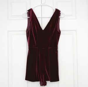 Maroon Velvet Playsuit with black lace